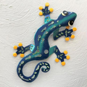 Blue Sculpted Metal Gecko Wall Decor by Caribbean Rays