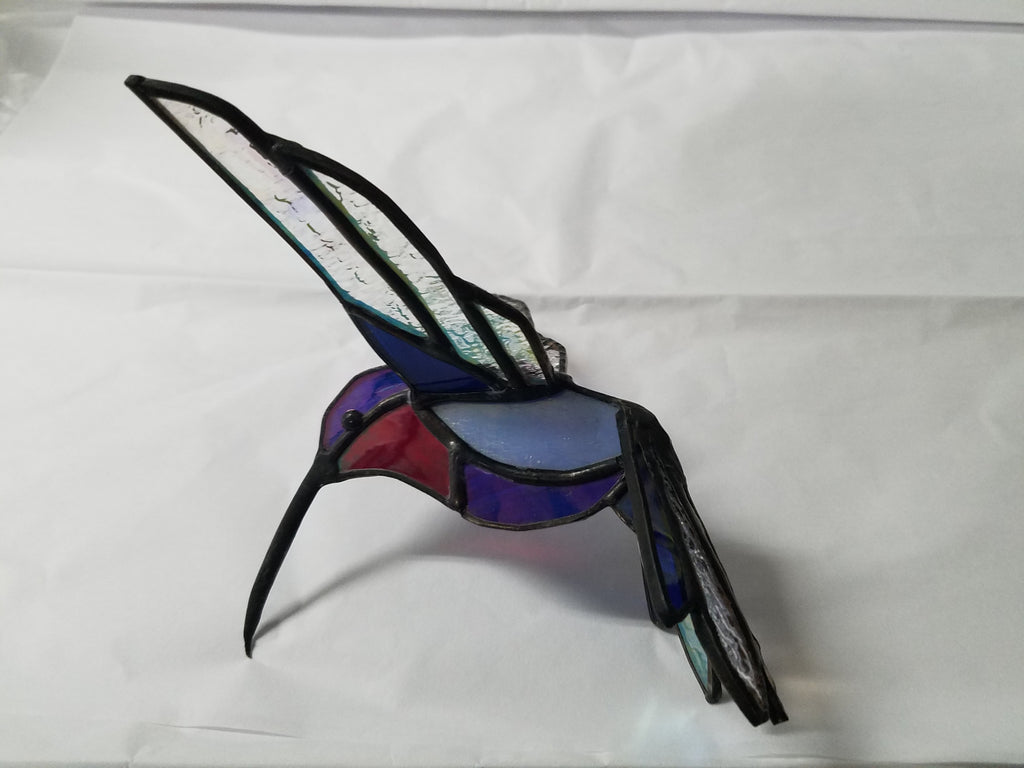 Stained glass red and blue hummingbird sun catcher