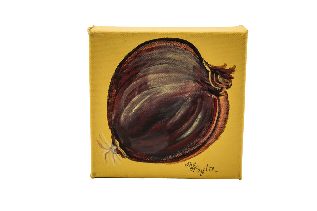 Red onion original painting on square canvas