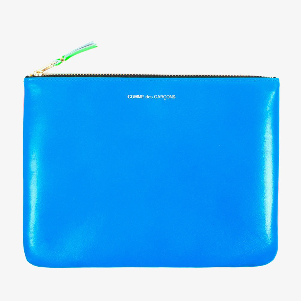 Comme des Garçons - Wallet Super Fluo Zip Large Pouch SA5100SF - Orange / Blue 1