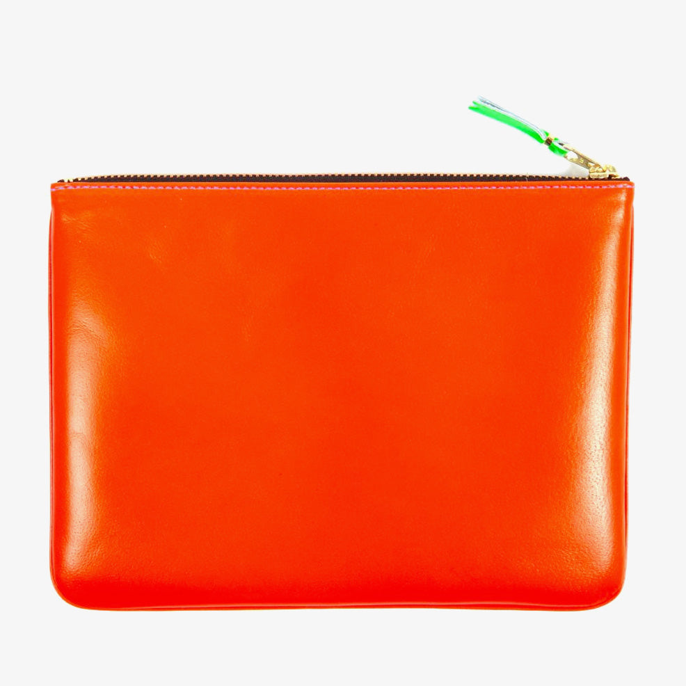 Comme des Garçons - Wallet Super Fluo Zip Large Pouch SA5100SF - Orange / Blue 2