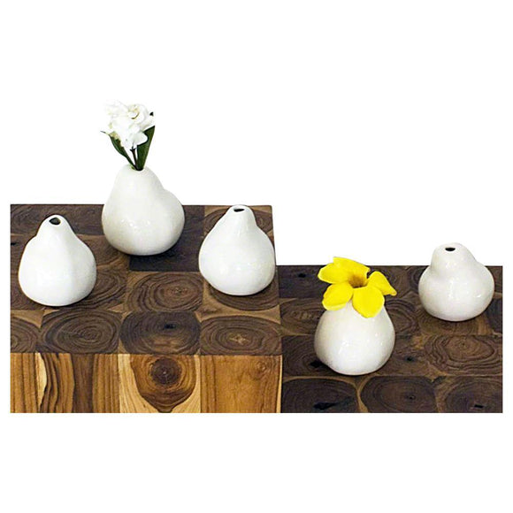 Haussmann 5 Piece Sets Decorative Ceramic Real Pear Mold Table Decor in Porcelain White Glossy F