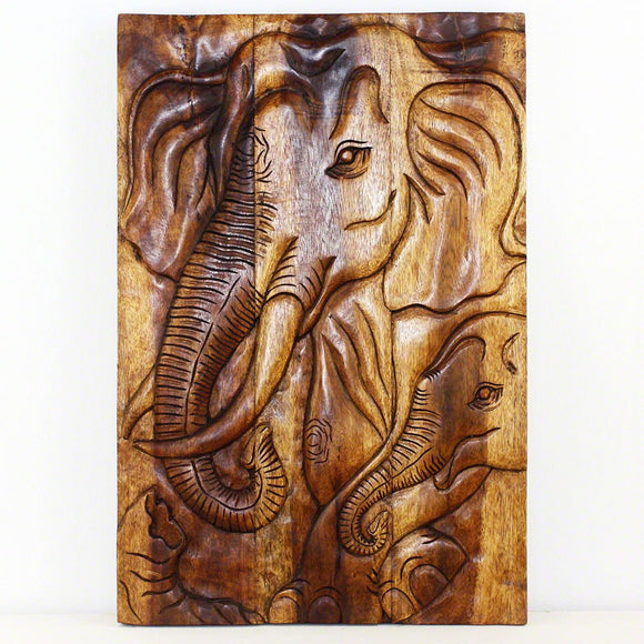 Haussmann Wall Panel Elephant Gentle Giant Mother 20 x 30 in High Walnut Oil