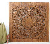 Haussmann Lotus Square Wall Panel, 36 In X 36 In Brown
