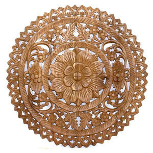 "Haussmann Lotus Panel Wall, 24"" Round, Brown"
