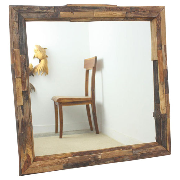 Haussmann Mirror with NE Teak Branches 30 in SQ (21 x 21 View) Tung Oil Finish