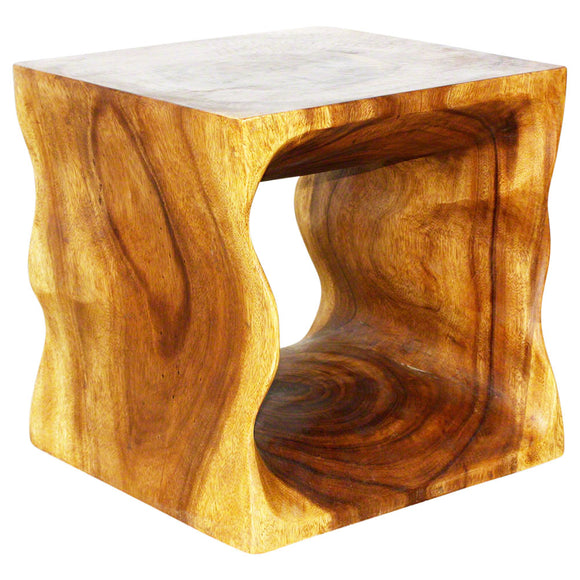 Haussmann Natural Cube 16 x 16 x 16 in High Eco Wood End Table Oak Oil