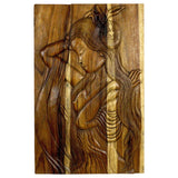 Haussmann Phuying Woman Monkey Pod Wood Wall Panel 24x36x2 inch in Antique Oak Oil