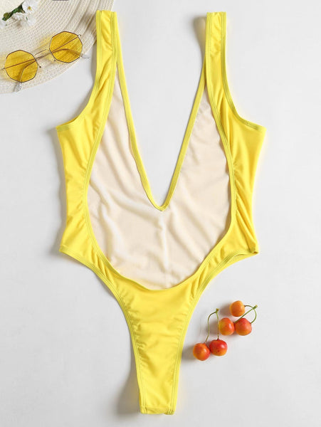 2019 New Solid Front Thong Bodysuit Bathing Suit