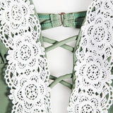 Beautiful Crochet Lace Insert One-piece Bathing Suit