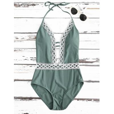 Crochet Panel Halter Backless One Piece Swimsuit- Green - green / S