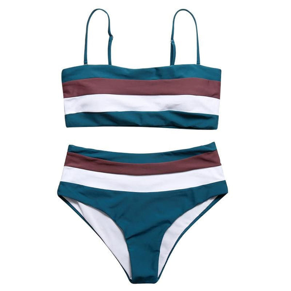 Fashion Striped Bandeau Bikini