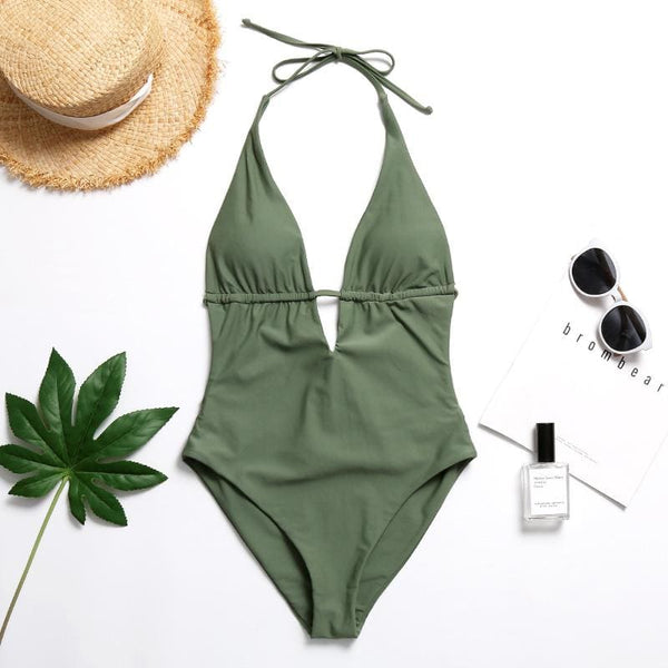Olive Halter One-piece Swimsuit - green / L/8