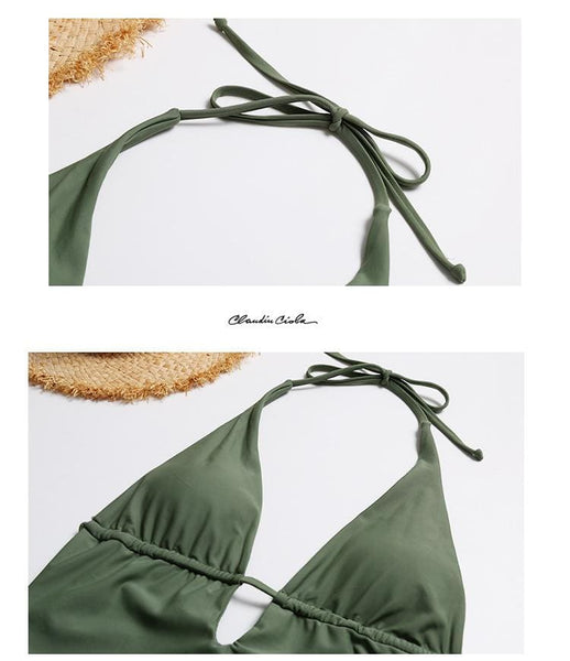 Olive Halter One-piece Swimsuit