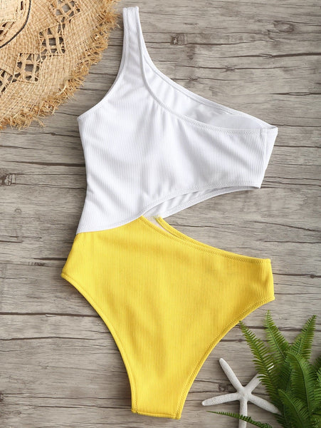One Shoulder Two Tone Cut Out Swimsuit