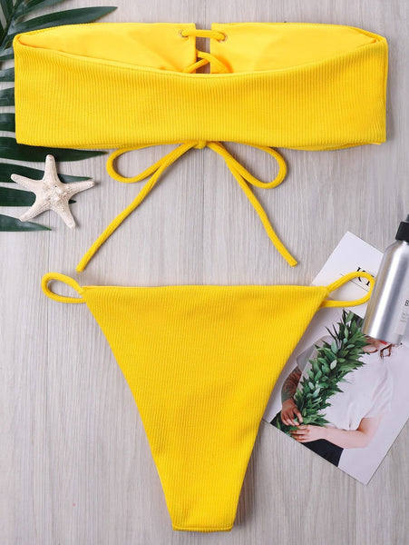 Ribbed Lace Up Bandeau Bikini Set