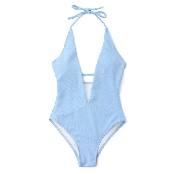 Solid Cotton Halter Multi Wear One-piece - blue / L