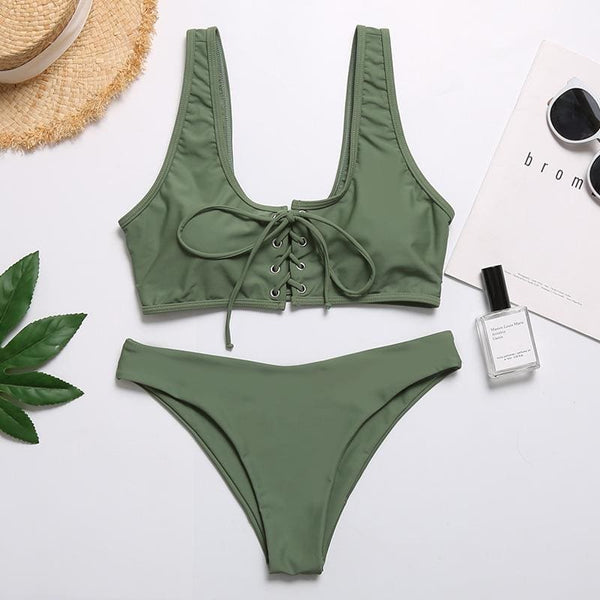 Solid Front String Tie Bikini Set 4 Colors - green / L