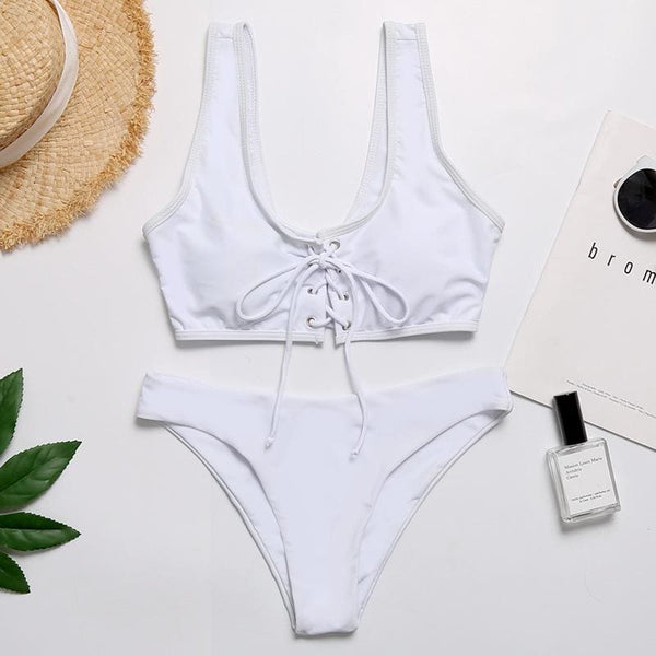Solid Front String Tie Bikini Set 4 Colors - white / L