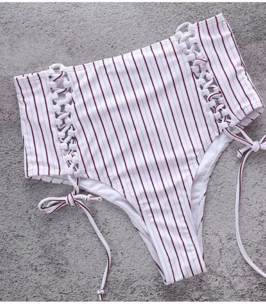 Stripe High Rise Bottom Draw String Bikini
