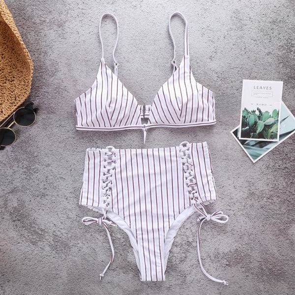 Stripe High Rise Bottom Draw String Bikini - white / L/8