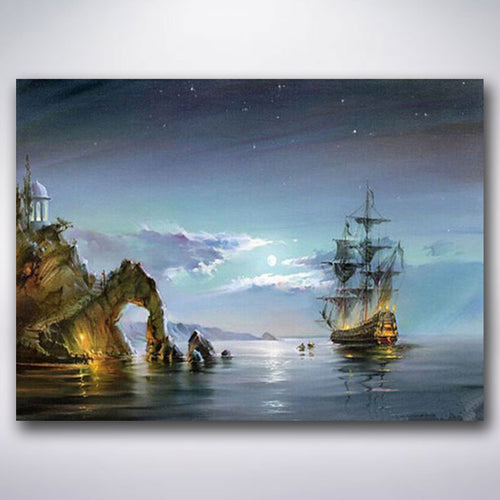 Anchored Night Ship - Paint by numbers