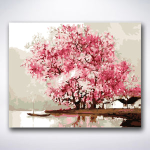 Lakeside Cherry Blossom - Paint by number