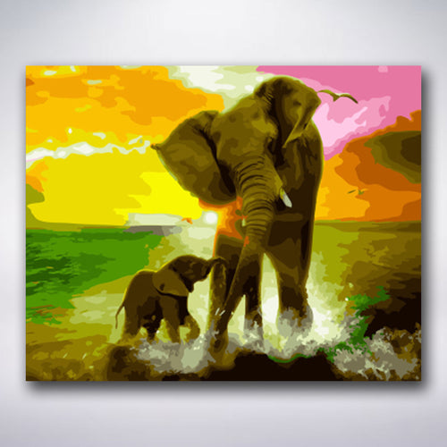 Mother And Baby Elephant - Paint by numbers