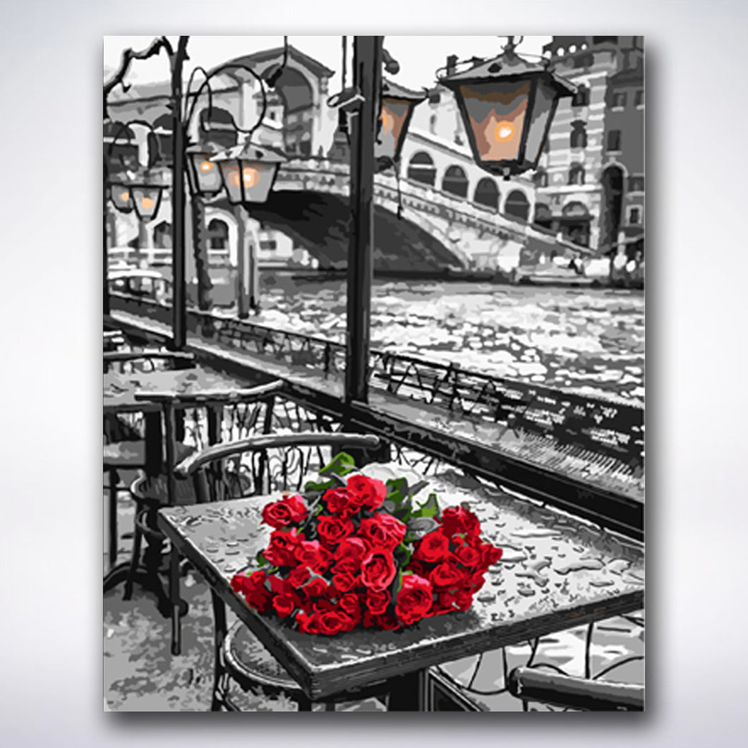Red Roses By The River - Paint by number