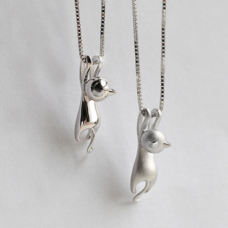 Silver Plated Tiny Cute Cat Pendants Charm Pendant Necklace