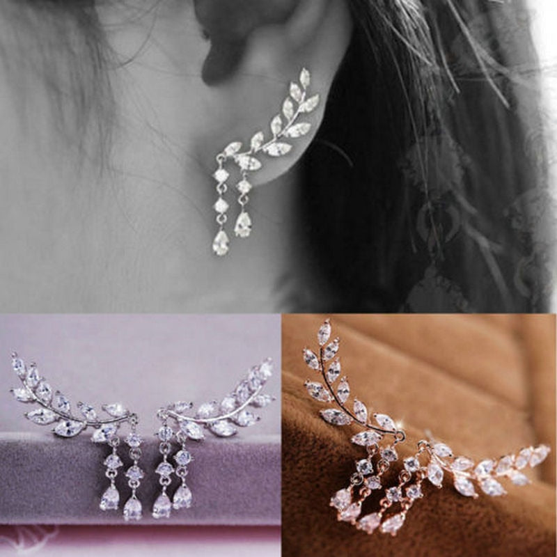 Gold Silver Plated Crystal Zirconia Leaves Tassel Earrings - Trinket Fascinations Jewelry