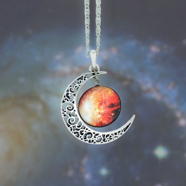 Moon Crystal Galaxy Pendant Necklace