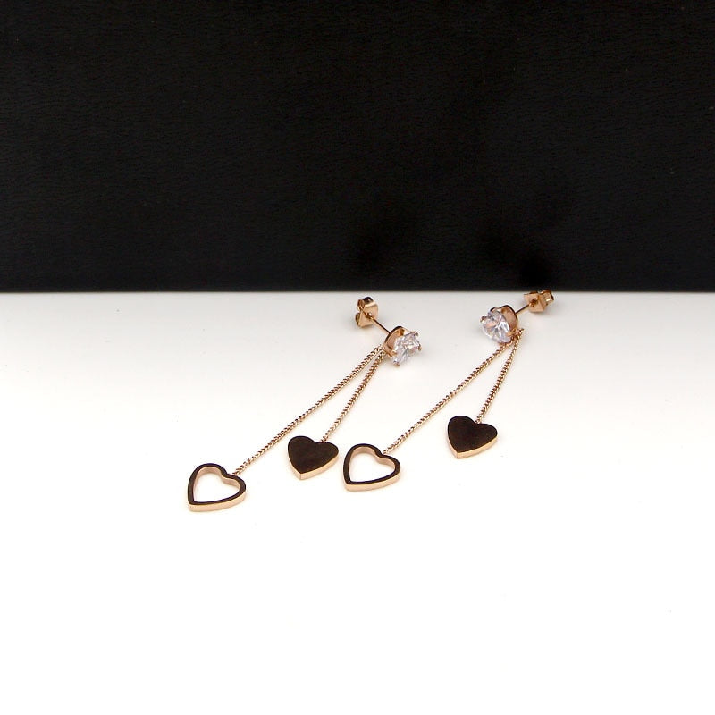 Crystal Peach Heart Tassel Long Double Earrings Titanium Steel Rose Gold - Trinket Fascinations Jewelry