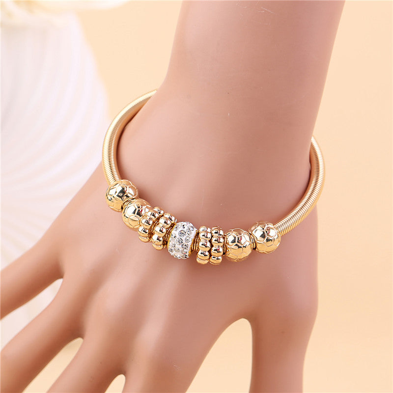 Gold Silver Crystal Alloy Beads Charm Bracelet - Trinket Fascinations Jewelry