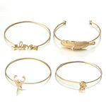 Vintage Leaf Deer Snowflake Love Bracelets Set. 4 Pieces. - Trinket Fascinations Jewelry