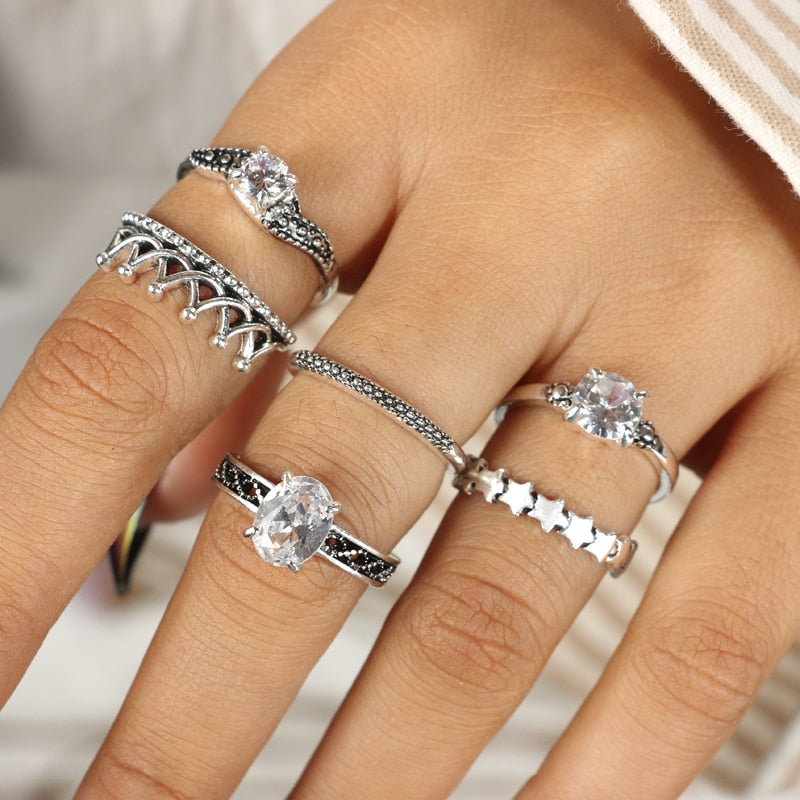 Bohemian Crown Star Carved Knuckle Rings Set for Women 6pcs per set - Trinket Fascinations Jewelry