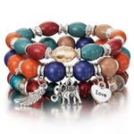 3-4pcs/set Beaded Bracelet With Colorful Gem - Trinket Fascinations Jewelry