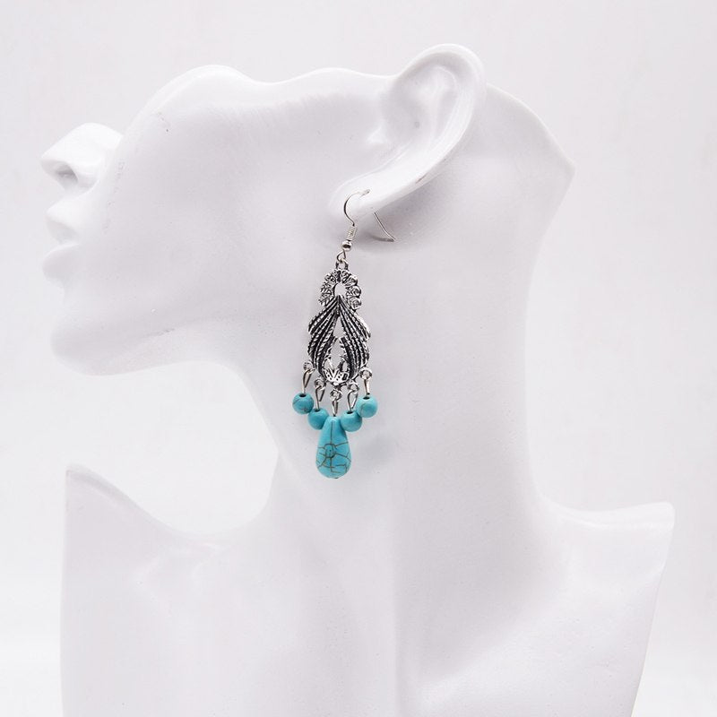 Vintage Bohemian Silver-Plated Turquoise Water-drop Earrings - Trinket Fascinations Jewelry