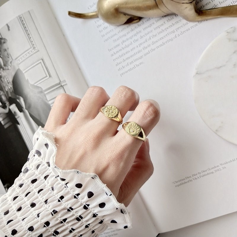18K Gold-Plated 925 Sterling Silver Retro Rings