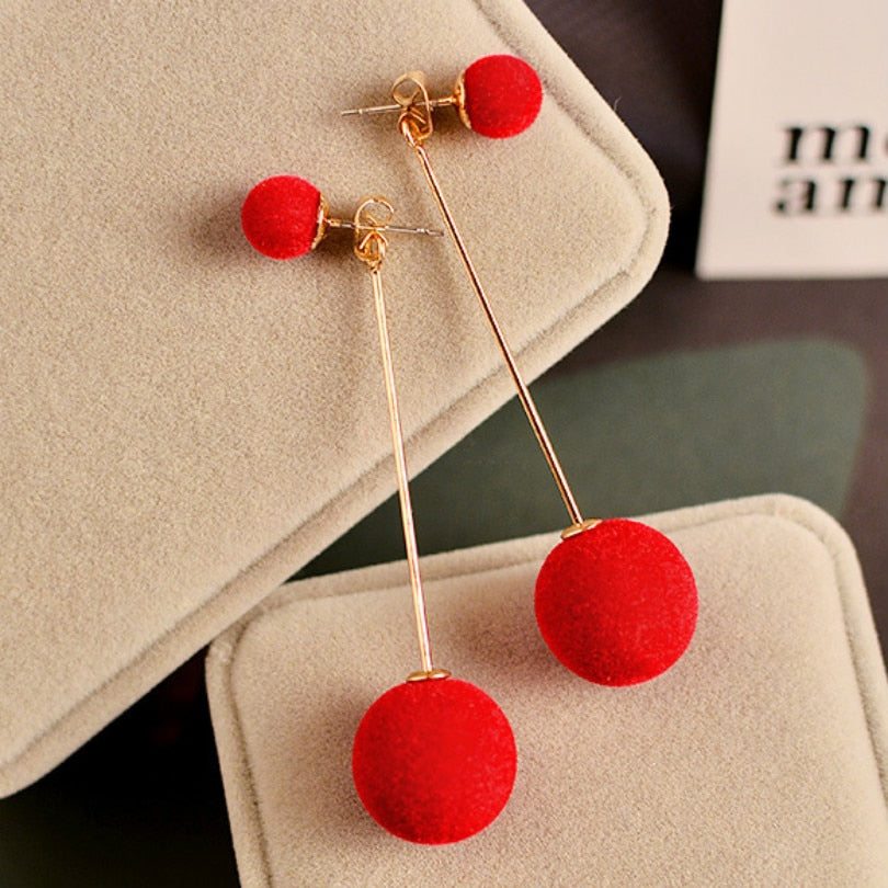 Velvet Plush Balls Tassel Long Pendant Earrings - Trinket Fascinations Jewelry