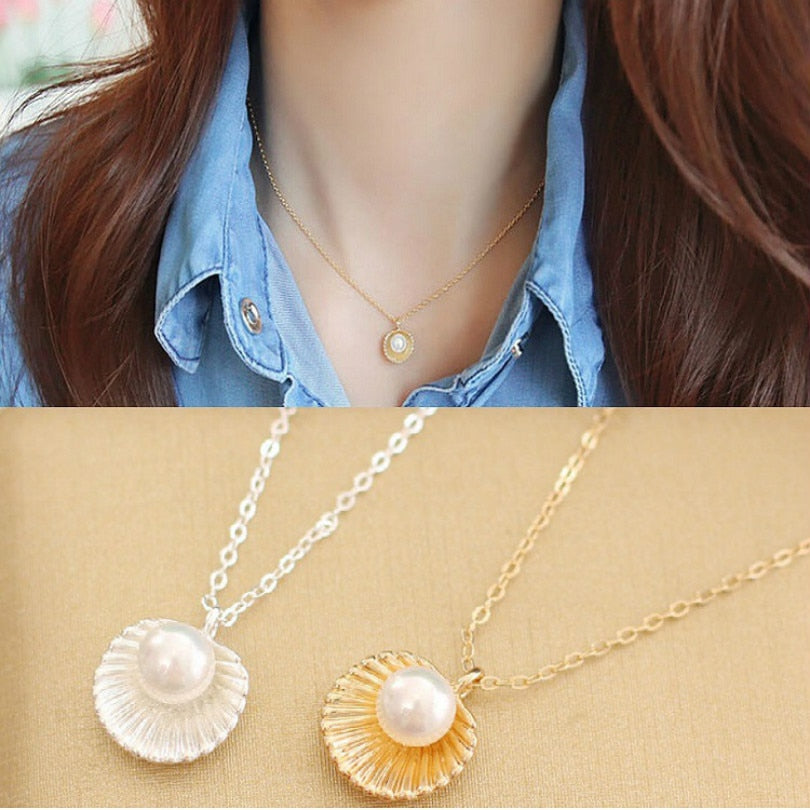 Simple Pearl Shell Shape Pendant Necklace