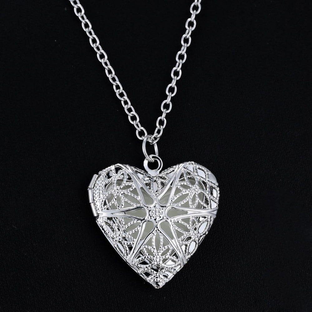 Steampunk Silver Hollow Luminous Heart Pendant Necklace - Trinket Fascinations Jewelry