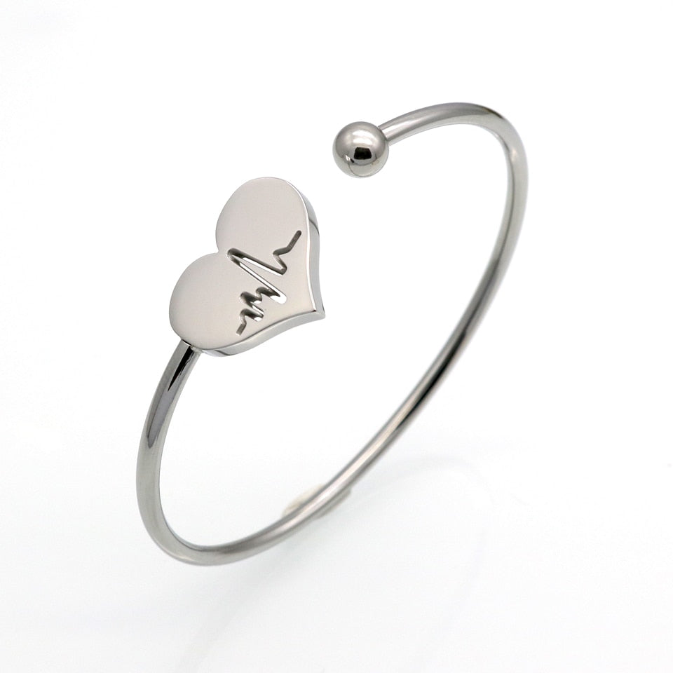 Hollow Heart Carved ECG Stainless Steel Bangle - Trinket Fascinations Jewelry