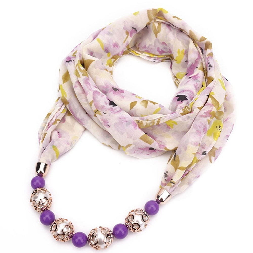 Pearl Bead Chiffon Scarf Ethnic Necklace