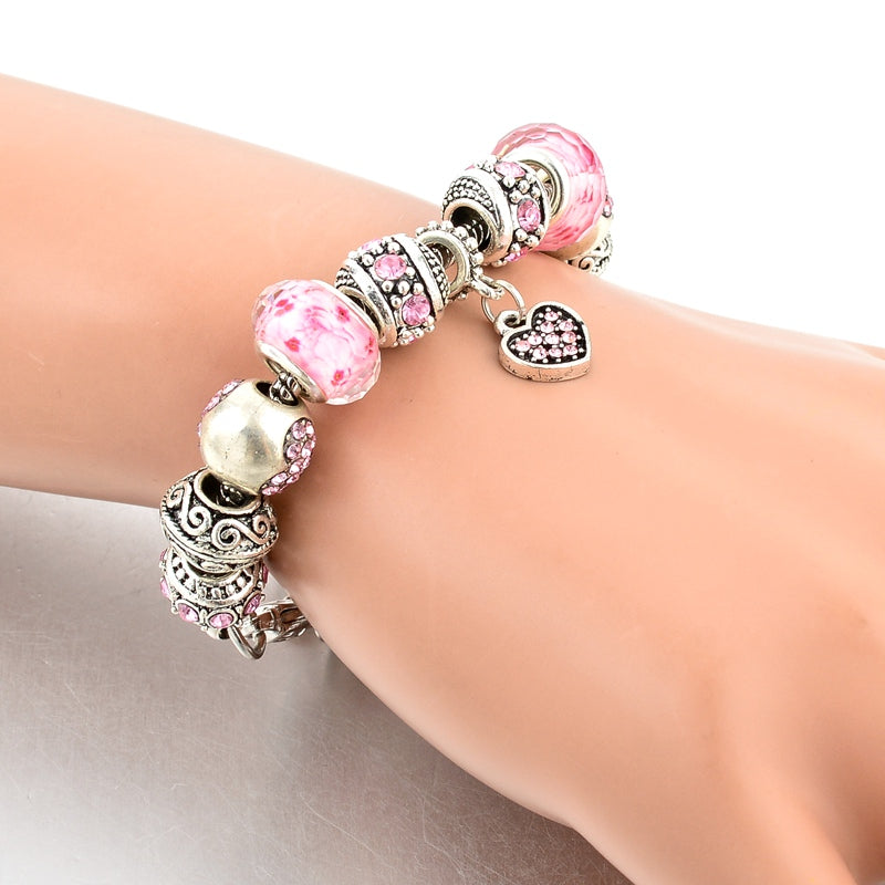 925 Silver Chain Pink Heart Crystal Charm Bracelets - Trinket Fascinations Jewelry