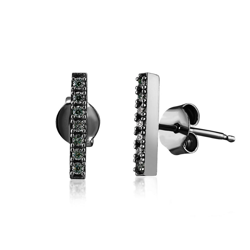 Crystal Bar Studs - Black Rhodium - Angela Wozniak Jewellery