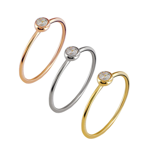 Tiny Single Crystal Glint Ring - Angela Wozniak Jewellery
