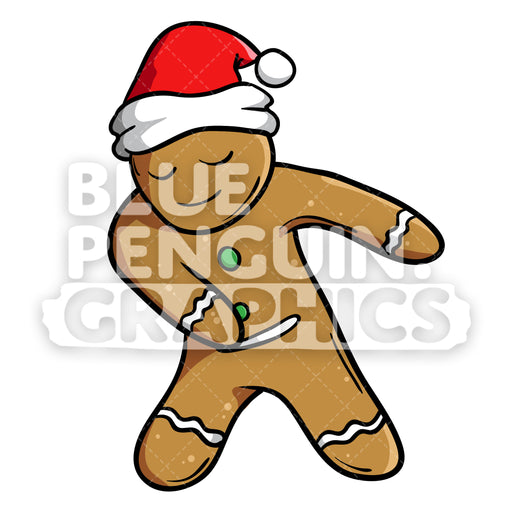 Christmas Cookie Floss Dance Vector Cartoon Clipart Illustration - Blue Penguin Graphics