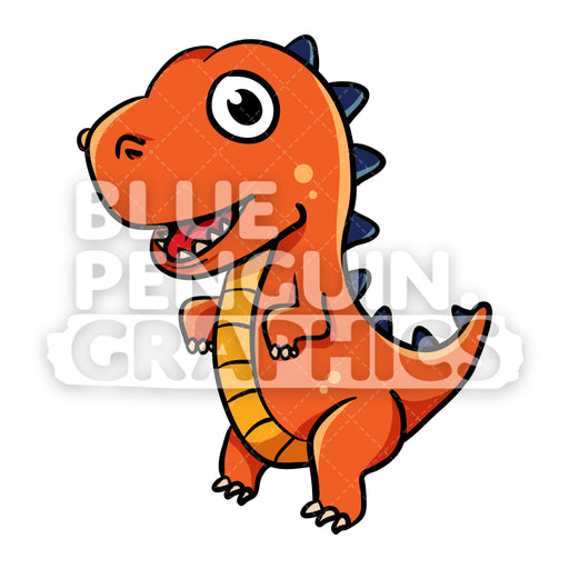 Dino Standing Vector Cartoon Clipart Illustration - Blue Penguin Graphics