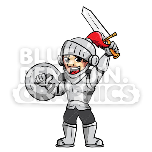 Borg Cool Knight Celebrating Victory Vector Cartoon Clipart Illustration - Blue Penguin Graphics